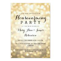 Housewarming Party Gold Glitter Lights Card