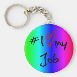 I love (heart) job multi-colored key-ring