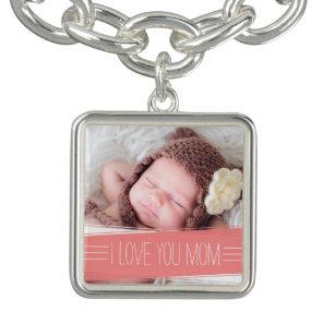 I Love You Mum   Coral Banner Photo Bracelet