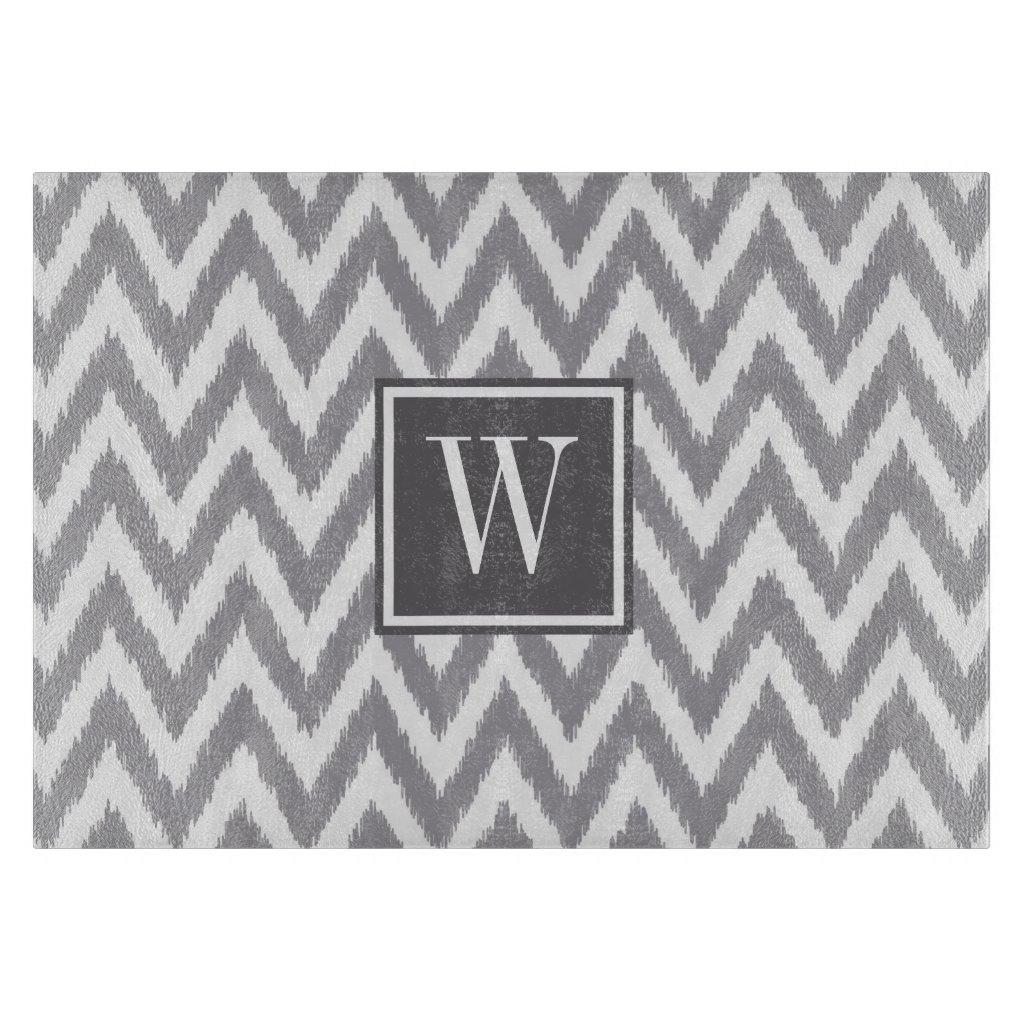 Chevron Grey Monogram Glass Cutting Board