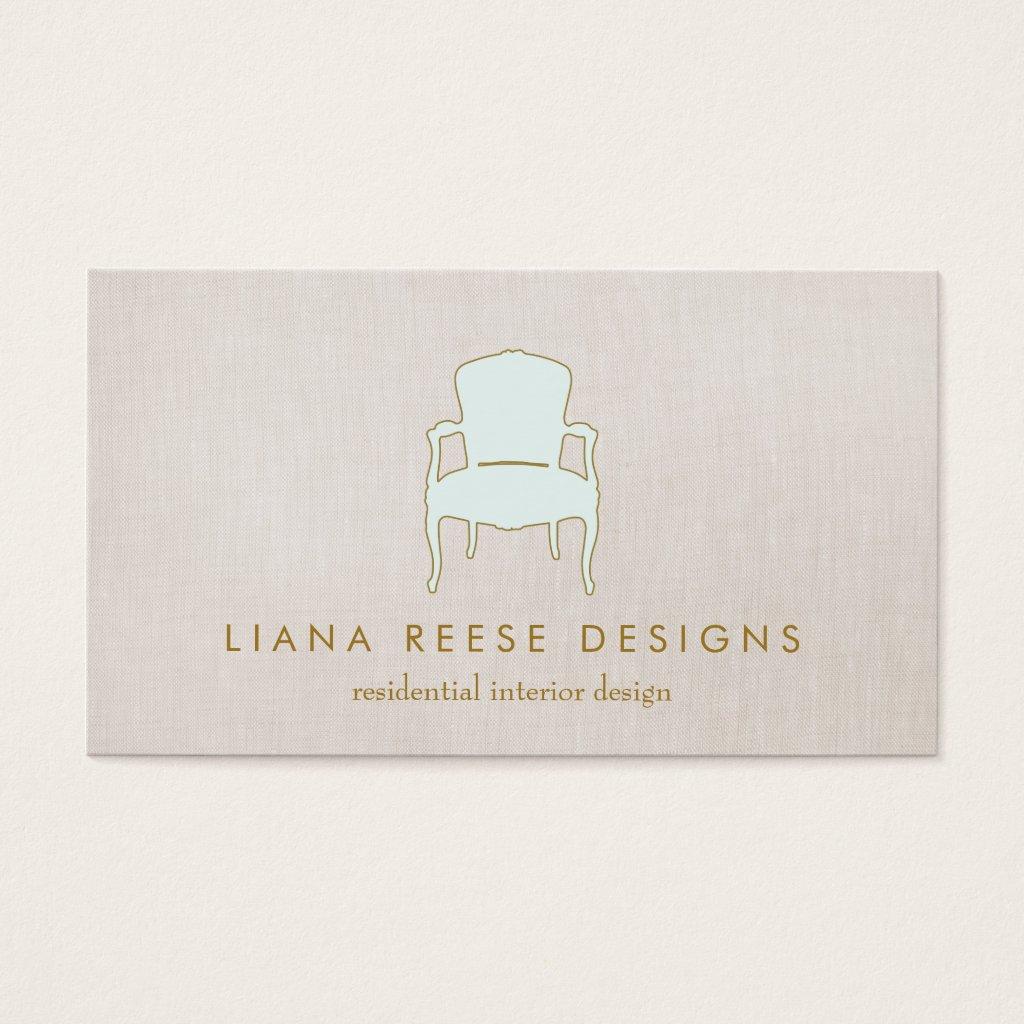 Interior Design French Chair Logo FAUX Linen