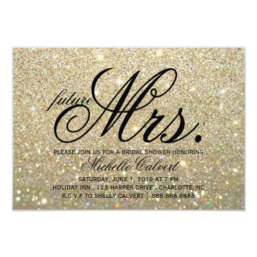 Invite Gold Glit Fab Future Mrs Bridal Shower