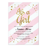 It's a Girl Baby Shower Pink Stripe Gold Invite