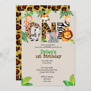 safari 1st birthday invitations zazzle uk