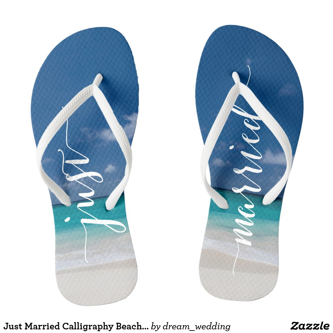 Just Married Beach Flip Flops