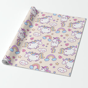 Kawaii chubby flying unicorns rainbow pattern wrapping paper