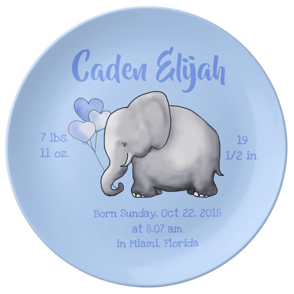 Keepsake Baby Boy Birth Stat Elephant Nursery Plate