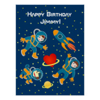 Kids Astronauts love Space Travel Poster