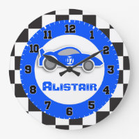 Car chequered flag wall clock