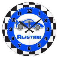 Car chequered flag wall clock