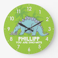 Kids dinosaur Stegosaurus green blue name clock