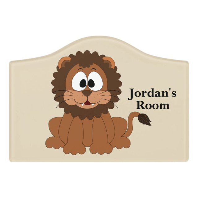 Cute Baby Lion Smiling Door Sign