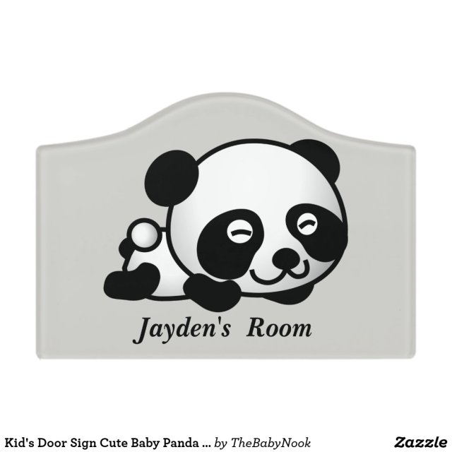 Cute Baby Panda Bear Door Sign