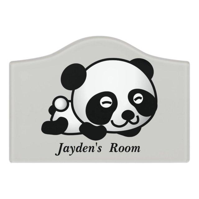 Cute Baby Panda Bear Door Sign