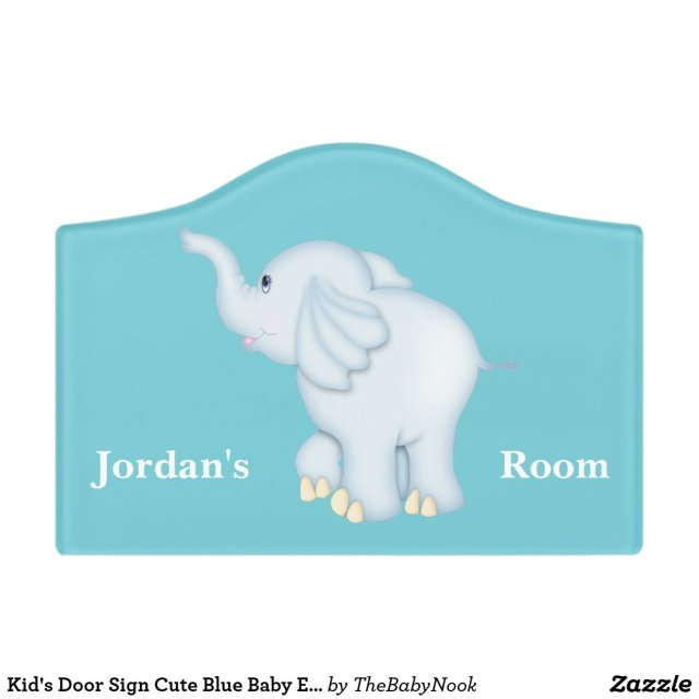 Blue Baby Elephant Door Sign