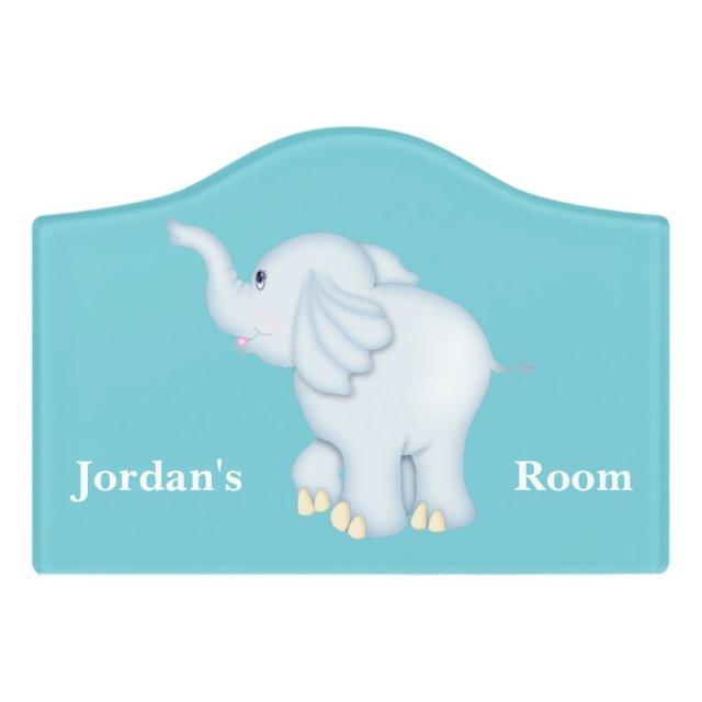 Blue Baby Elephant Door Sign