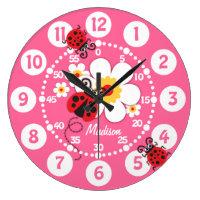 Ladybug & flowers wall clock