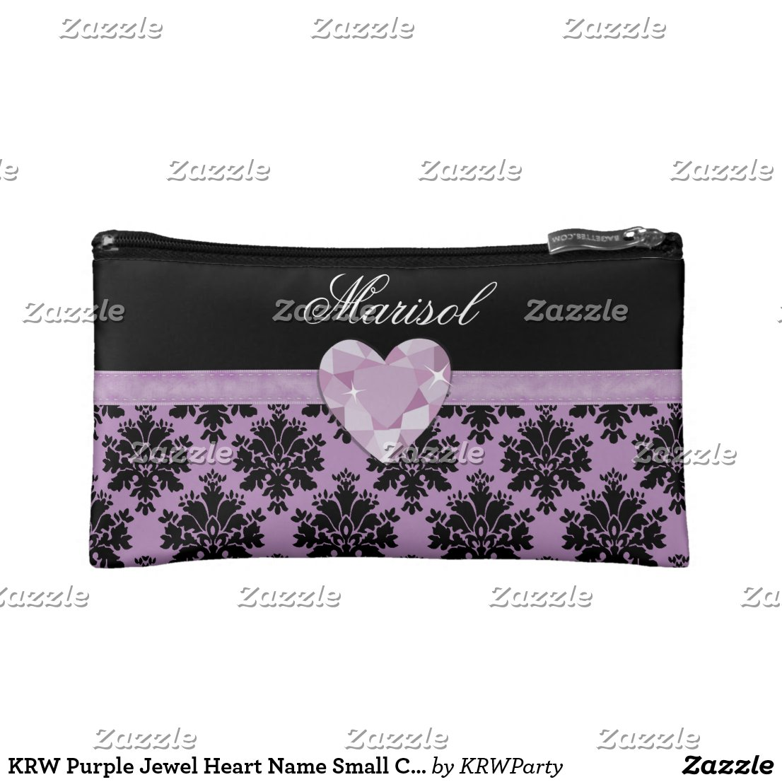 KRW Purple Jewel Heart Cosmetic Bag