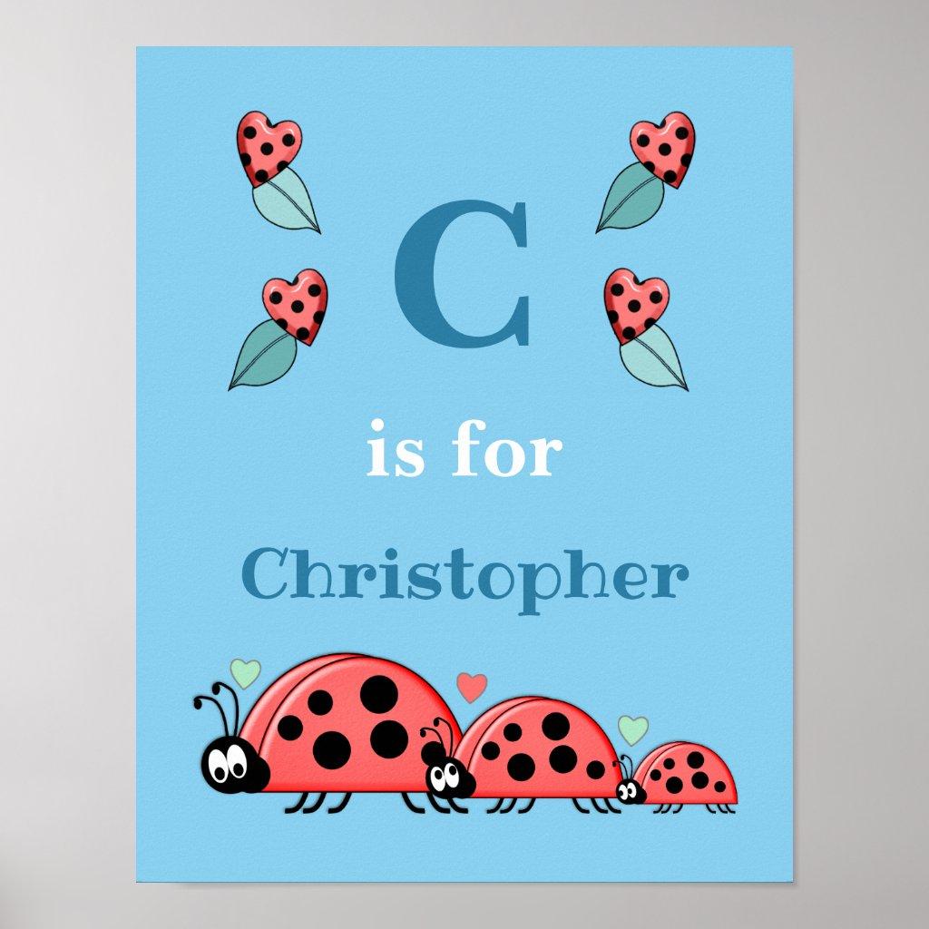 Ladybirds alphabet name blue Nursery Poster