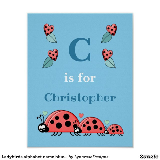 Ladybirds alphabet name blue Nursery Poster