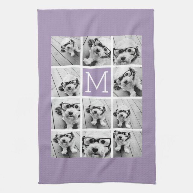 Lavender Instagram Photo Collage Custom Monogram Tea Towel