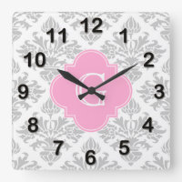 Floral Damask Monogram Wall Clock