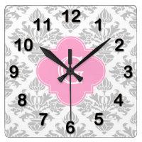 Floral Damask Monogram Wall Clock