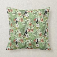 Light Green Tropical Cushion Throw Pillow