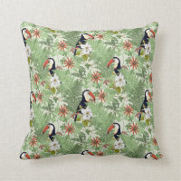 Light Green Tropical Cushion Throw Pillow