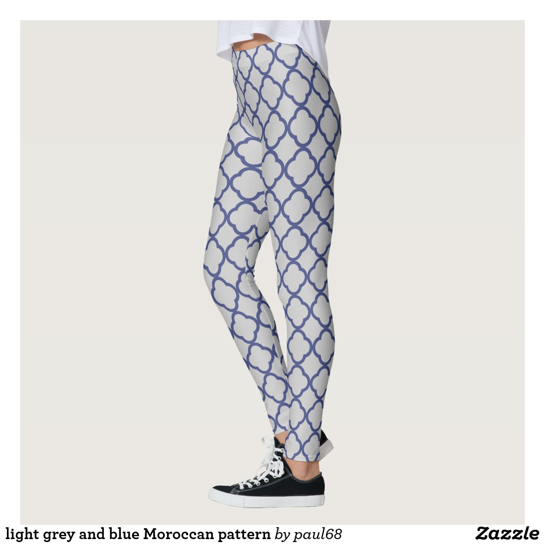 light grey and blue Moroccan pattern Leggings