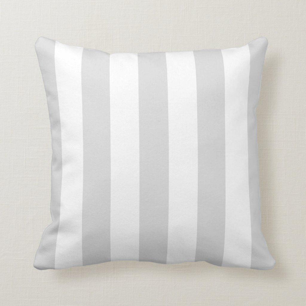 Grey and White Stripe Pattern Cushion
