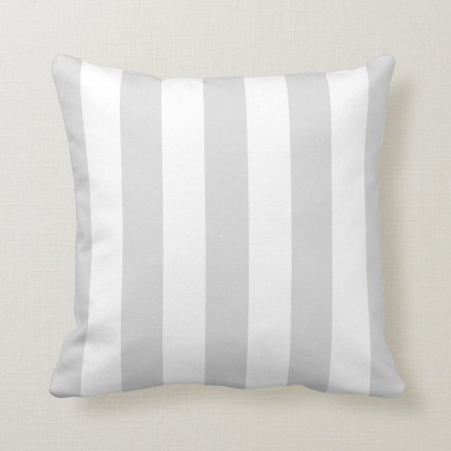 Grey and White Stripe Pattern Cushion
