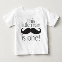Little Man Moustache Birthday Shirt