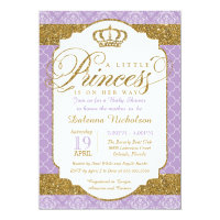 Little Princess Royal Purple and Gold Baby Shower Card