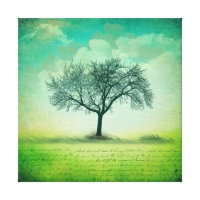 Lone Tree Landscape with Writing Canvas Print