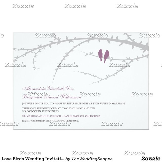 Love Birds Wedding Invitation (lavender)
