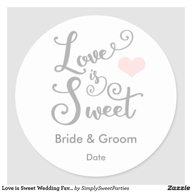 Love is Sweet Wedding Favour Sticker