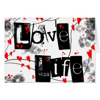 Love Life black,red,hearts,dots text greeting card