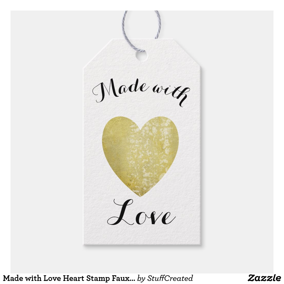 Made with Love Heart Stamp Faux Gold Foil Gift Tags