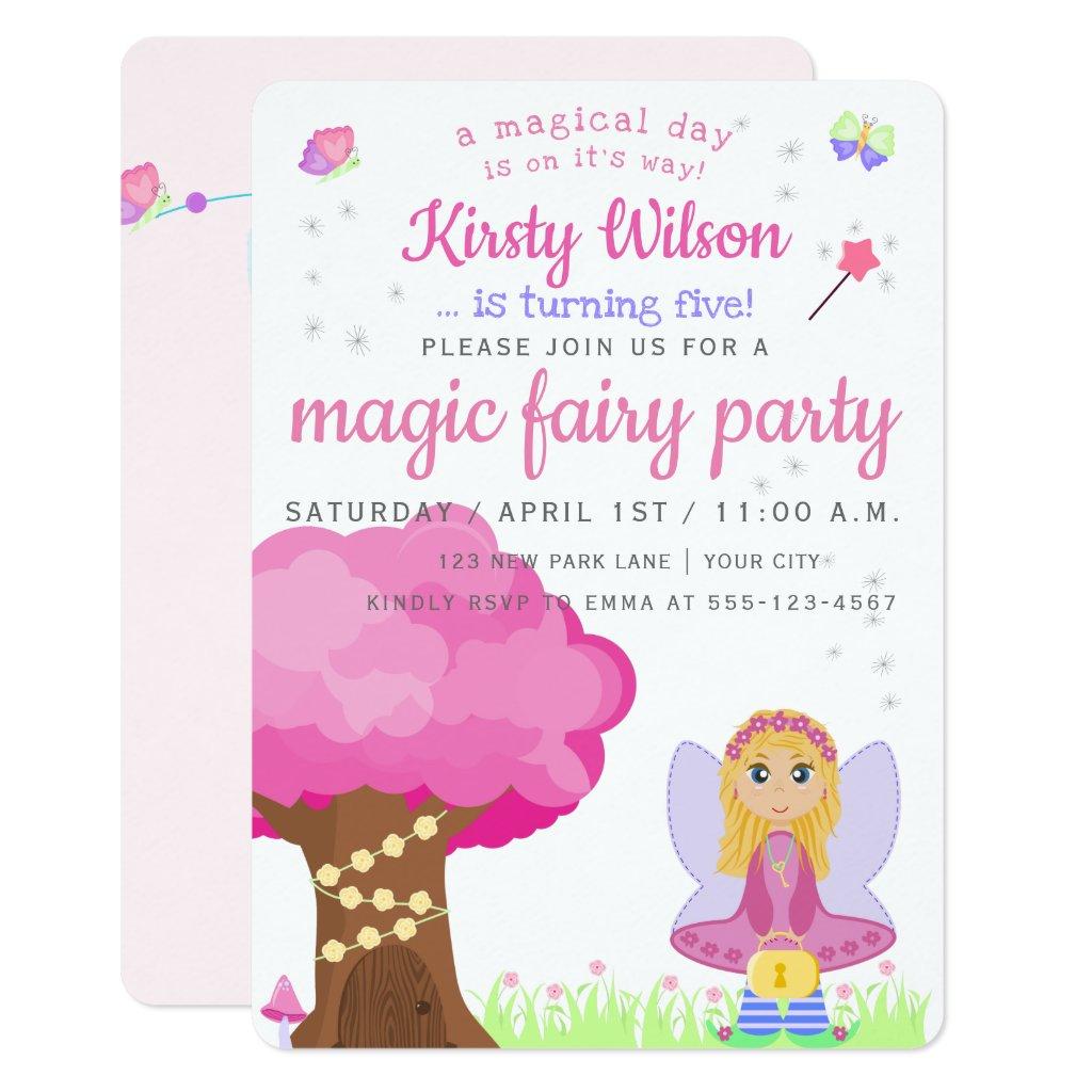 Magic Fairy Party | Girl's Birthday Celebration Card