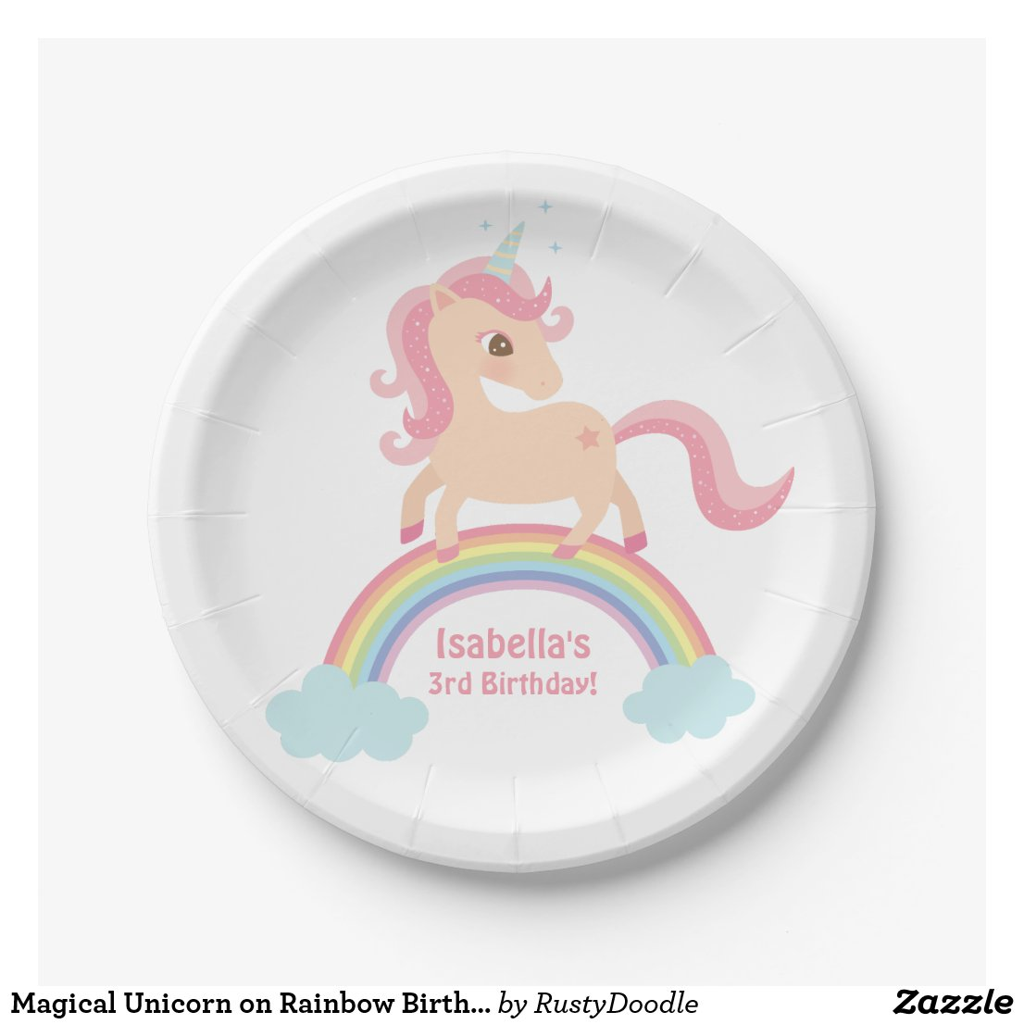 Magical Unicorn on Rainbow Birthday Party Paper Plates