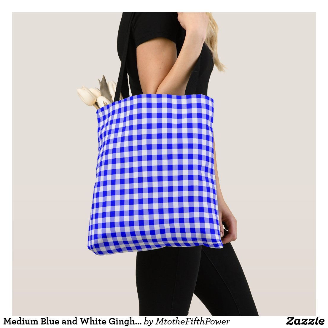 Medium Blue and White Gingham Check Tote Bag