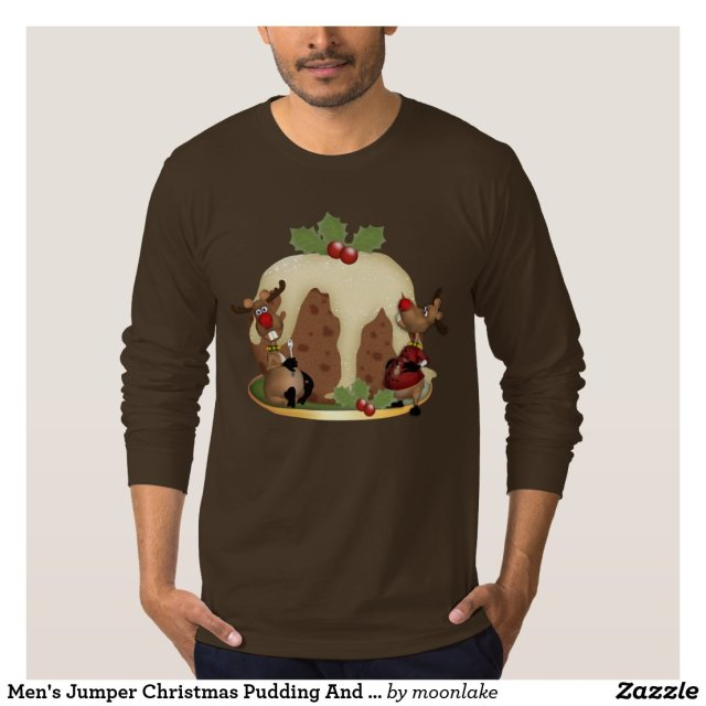 Men's Jumper Christmas Pudding And Reindeeer