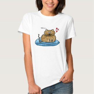 Meow... illustration of a cat on a cushion t-shirt