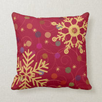 Merry & Bright Christmas Holiday Snowflake Bokeh Pillows