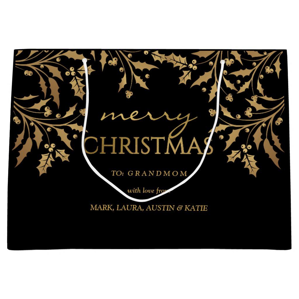 Merry Christmas Gold Foil Holly Garland