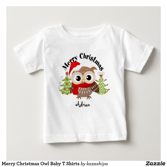 Merry Christmas Owl Baby T Shirts