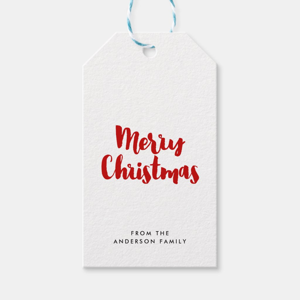 Merry Christmas trendy red font Gift Tags