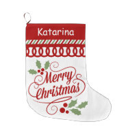 Merry Christmas Typography Scallop Large Christmas Stocking