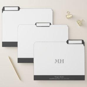 Minimalist White & Grey Monogram File Folder
